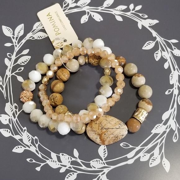 Beaded Bracelet antique gold bracelet tan and beige wood bracelet